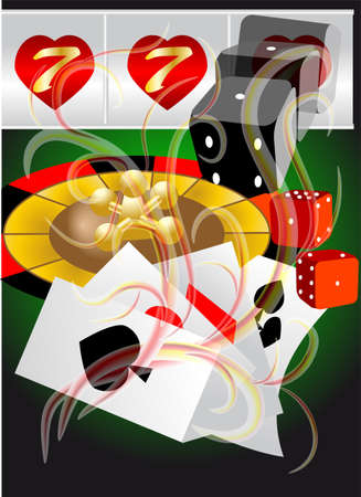 abstract casino  abstract background with roulette, card and dices Stock Vector - 18082711