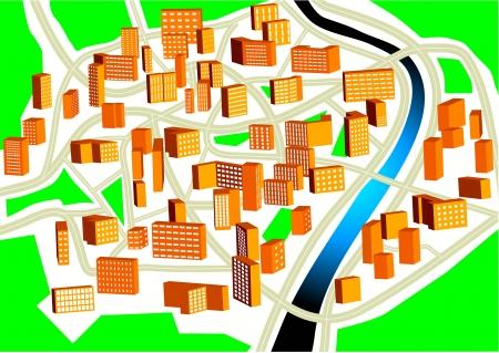 Town plan. Plan of a nonexistent city Stock Vector - 18284378