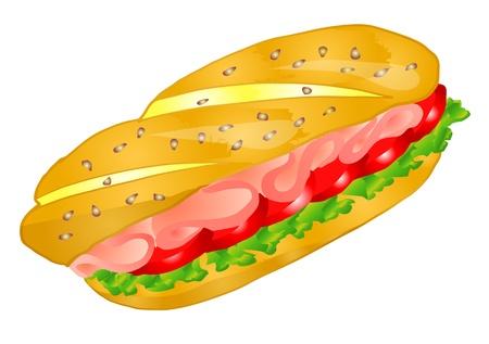 샌드위치는 흰색 배경에 고립 된 10 EPS