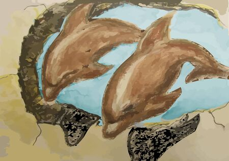 mural: old mural with dolphins