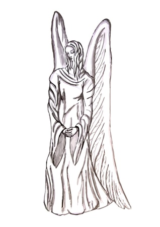 angel cemetery: angel statue isolated on the white background Illustration