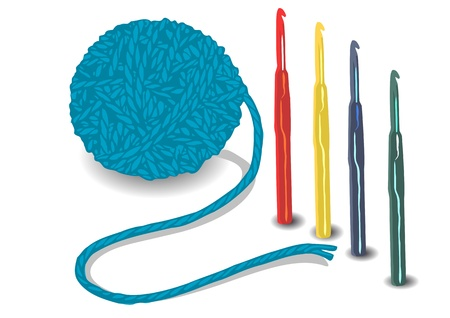 ball of string and crochet hooks