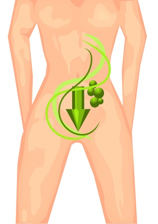 bowel: healthy lifestyle  female body with a symbolic arrow