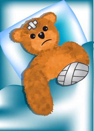 fell: bear fell ill  injured teddy bear with bandage