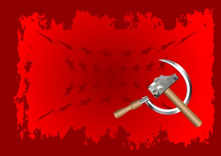 hammer and sickle: hammer and sickle on red background with stars