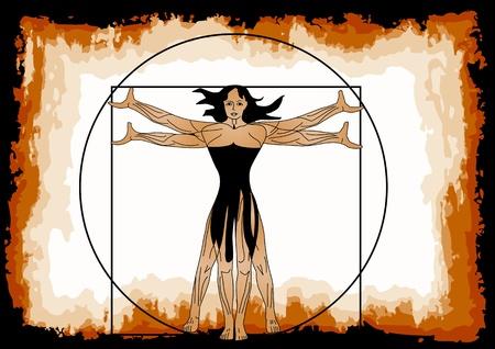 simbol: La donna vitruviano figura femminile in un quadrato e cerchio