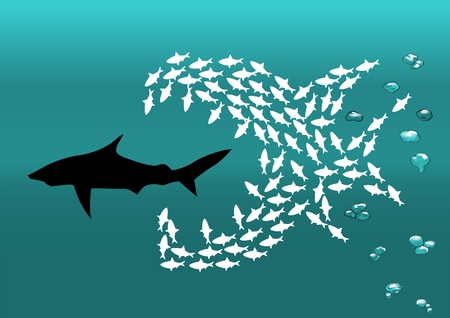 flock of small fish attacks the big shark Vector