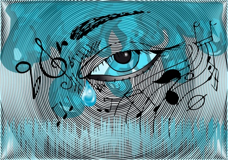 musical background with the human eye Vector