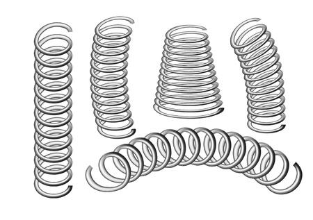 resortes: conjunto de manantiales aislados en blanco 10 EPS