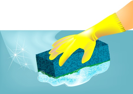 rubber glove: hand in rubber glove wipes with washcloth