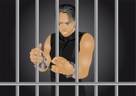 confined: prisoner  young man in jail in handcuffs Illustration