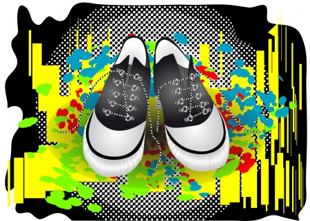 abstract gym shoes on a colorful background