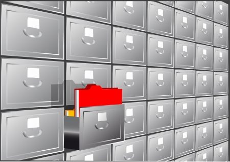 folder search  file cabinet with half-open drawers containing