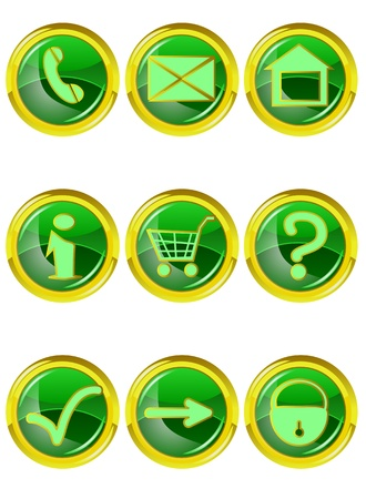 Set of 9 web icons isolated on white Vector