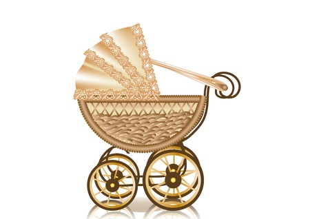vintage pram  retro-styled baby carriage  10 EPS