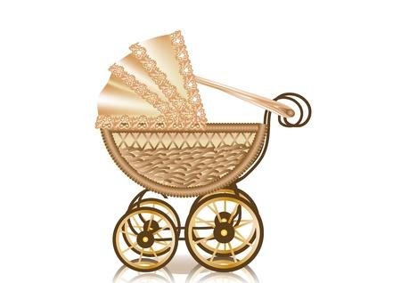 vintage pram  retro-styled baby carriage  10 EPS