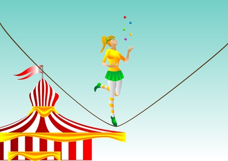 juggler: circus  girl juggler on a rope  10 EPS Illustration