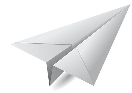 toy plane: white paper airplane isolated on white background