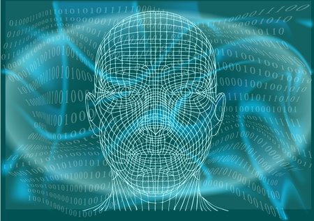 cyberspace: man in cyberspace, abstract background  Illustration