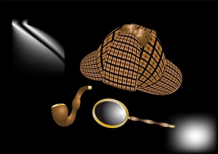 Detective Sherlock Holmes kit on dark background Illustration