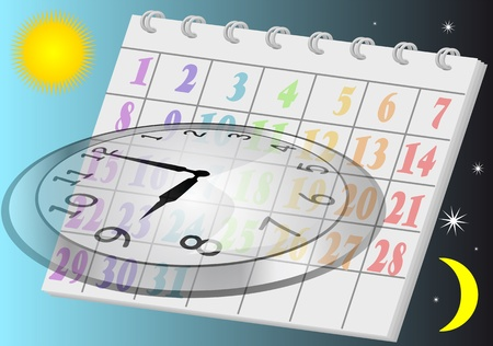 last day: running time  clock and calendar on sky background Illustration