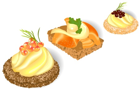 three canape isolated on the white background