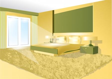 headboard: bedroom in a green tone  10 EPS Illustration