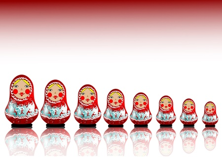 lined up: 7 matryoshka dolls lined up in a row