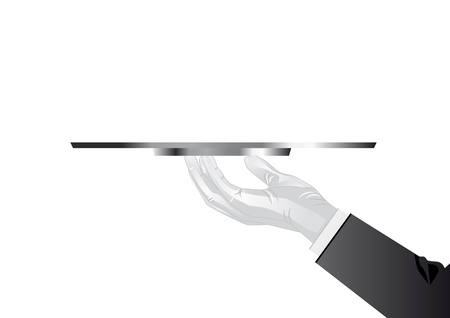 silver tray: Hand of the waiter with a tray in the glove Illustration