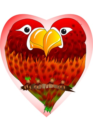 the two parrots: enamored parrots  two parrots on background of the heart Illustration