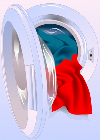 Opened washing machine door with colored clothes Illustration