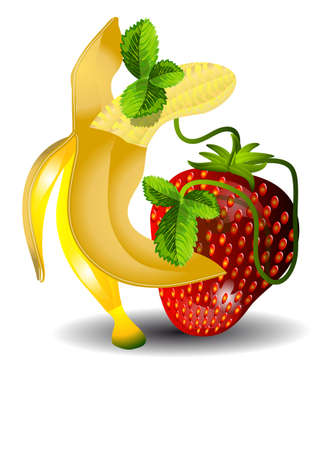 dancing banana and strawberries isolated on white backround Vector