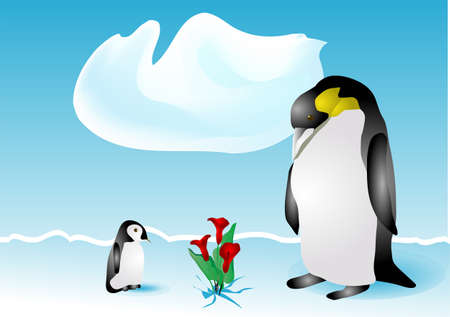 penguins and flowers on the snow   Vector