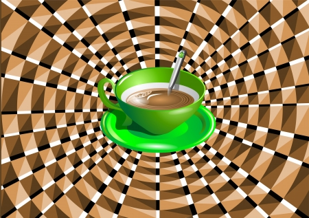 non alcohol: ilusi�n �ptica con una taza verde con una bebida Vectores