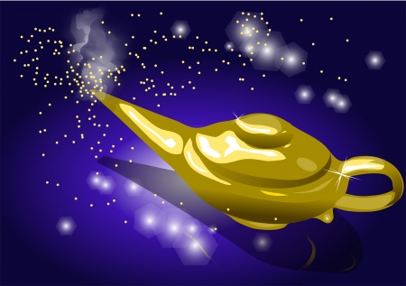 magic lamp  smoking genie lamp in  Vector