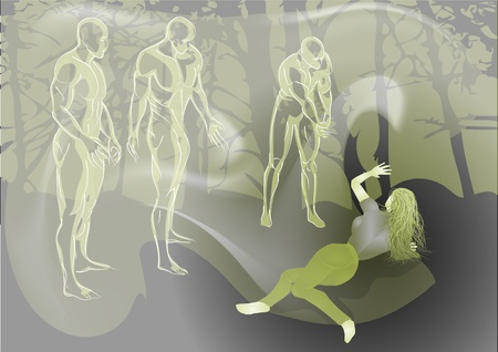 fogs and girl in the dark forest Vector
