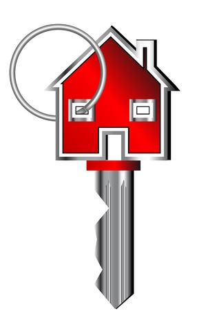 new opportunity: house key isolated on the white background Illustration