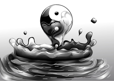 yin and yang rising from the liquid Illustration