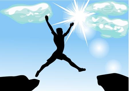 man leap across the chasm    Illustration