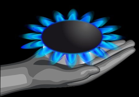gas man: gas on the palm of the man