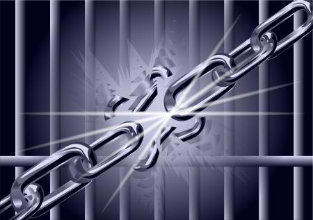 cadena rota: cadena se rompe en fragmentos s�mbolo de libertad