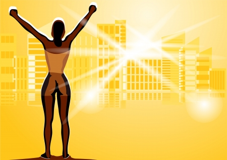 success of winner woman  silhouette of woman against the city