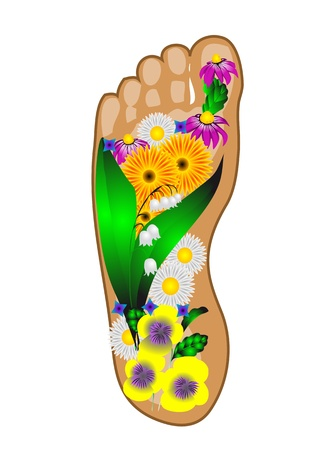 foot with flowers isolated on white background