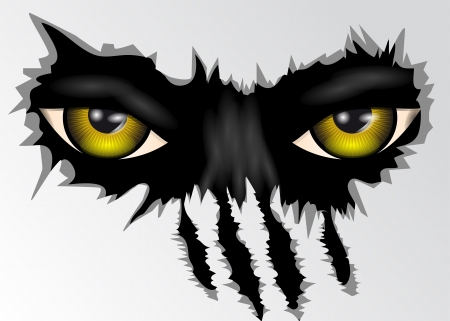 evil yellow eyes animal looking   Vector