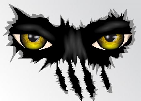 wilkołak: zła żółty zwierząt oczy patrząc Ilustracja