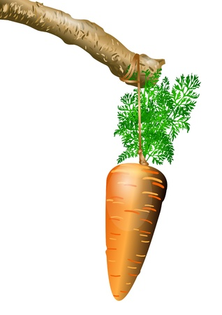 carrot on a rope  bait on a stick Vector