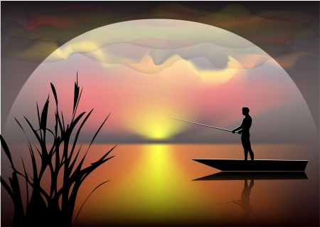 reflectie water: zwarte silhouet van de visser op de boot