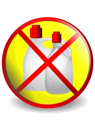 prohibiting: No detergents  Symbol prohibiting cleaning supplies