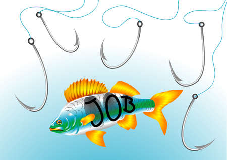 job hunt  abstract fish hooks in search of work Stock Vector - 21037065