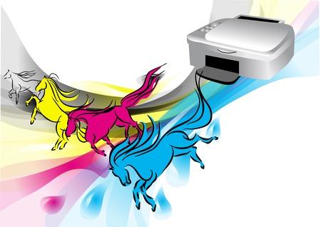 プリンターの色はプリンターのインクとして馬を抽象化します。  イラスト・ベクター素材
